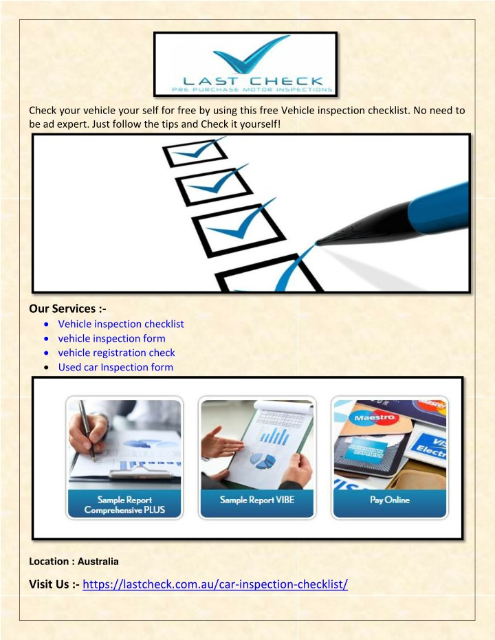 Ppt Free Car Inspection Form Used Car Inspection Checklist Last