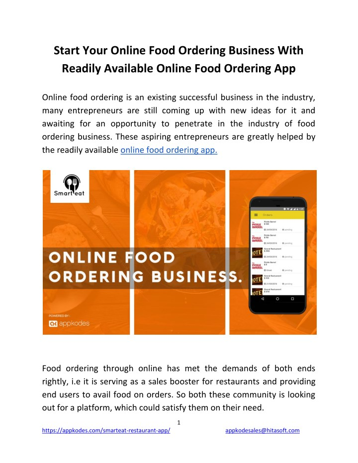 PPT - Start Your Online Food Ordering Business With Readily