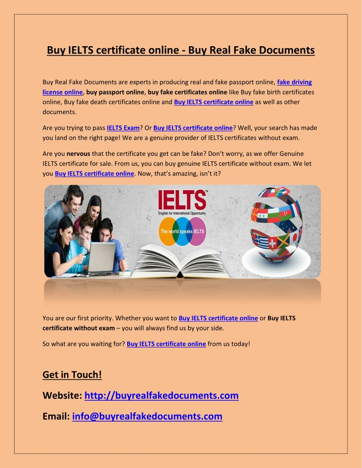 PPT - Buy IELTS certificate online - Buy Real Fake Documents ...