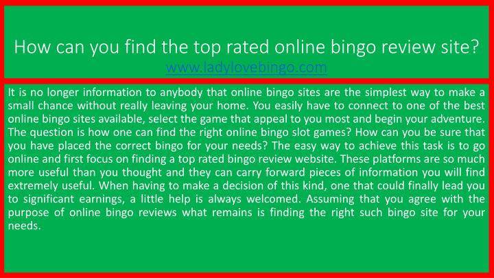 how can you find the top rated online bingo review site www ladylovebingo com n.