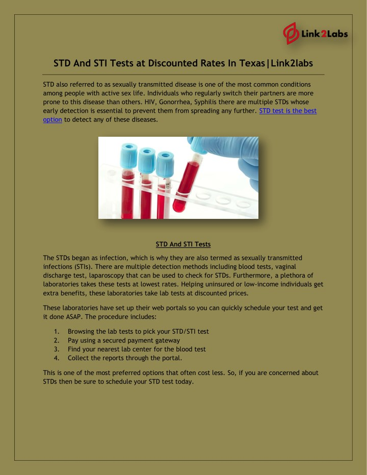 PPT - STD And STI Tests at Discounted Rates In Texas