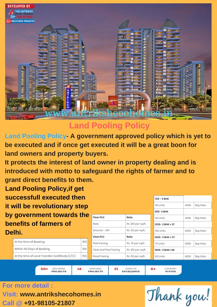 www antrikshecohomes in land pooling policy land n.