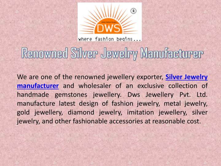 renowned silver jewelry manufacturer n.