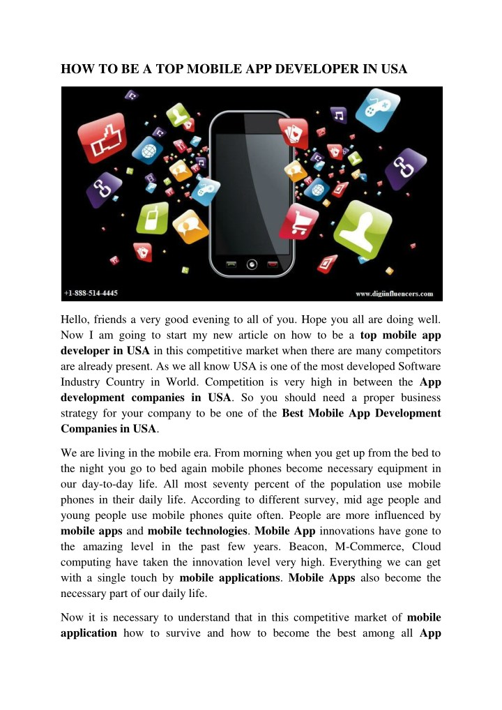 how to be a top mobile app developer in usa n.