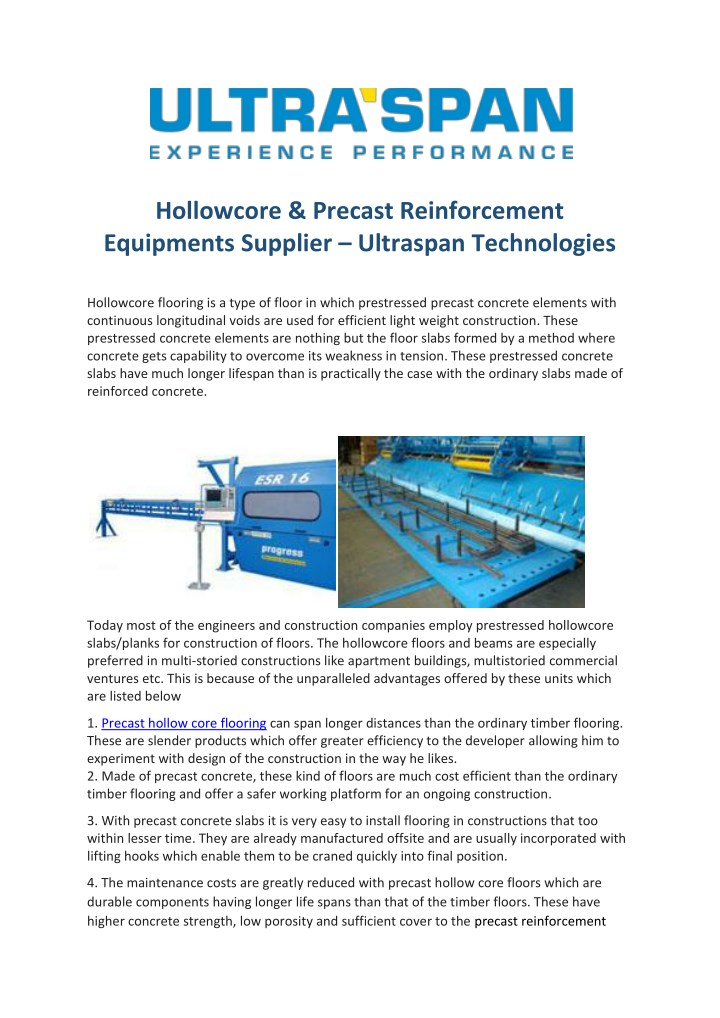 PPT - Hollow Core Extrusion Machinery Supplier PowerPoint