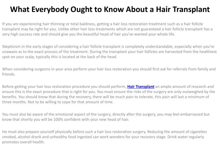 what everybody ought to know about a hair transplant n.
