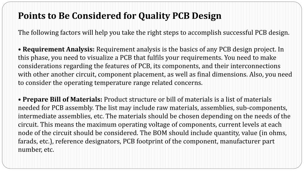 PPT - Factors to be Considered for Quality PCB Design