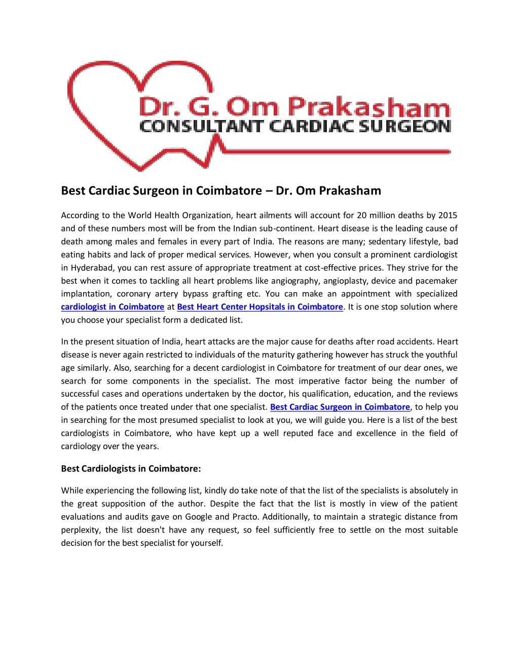 Ppt Best Cardiac Surgeon In Coimbatore A Dr Om Prakasham Powerpoint Presentation Id 7912905