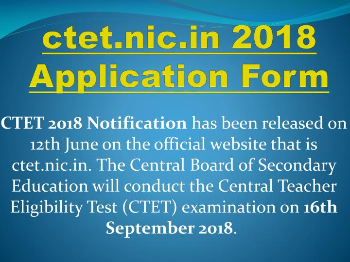 ctet nic in 2018 application form n.