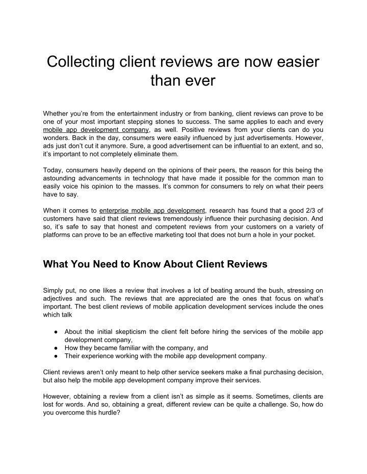 collecting client reviews are now easier than ever n.