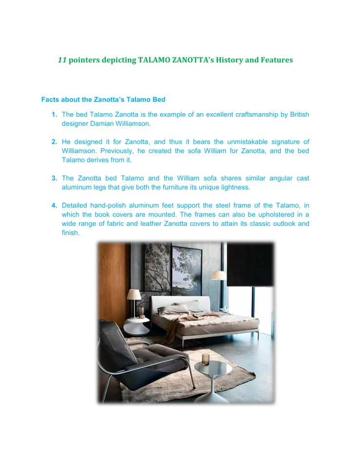 Ppt 11 Pointers Depicting Talamo Zanottaa S History And Features Powerpoint Presentation Id 7914839