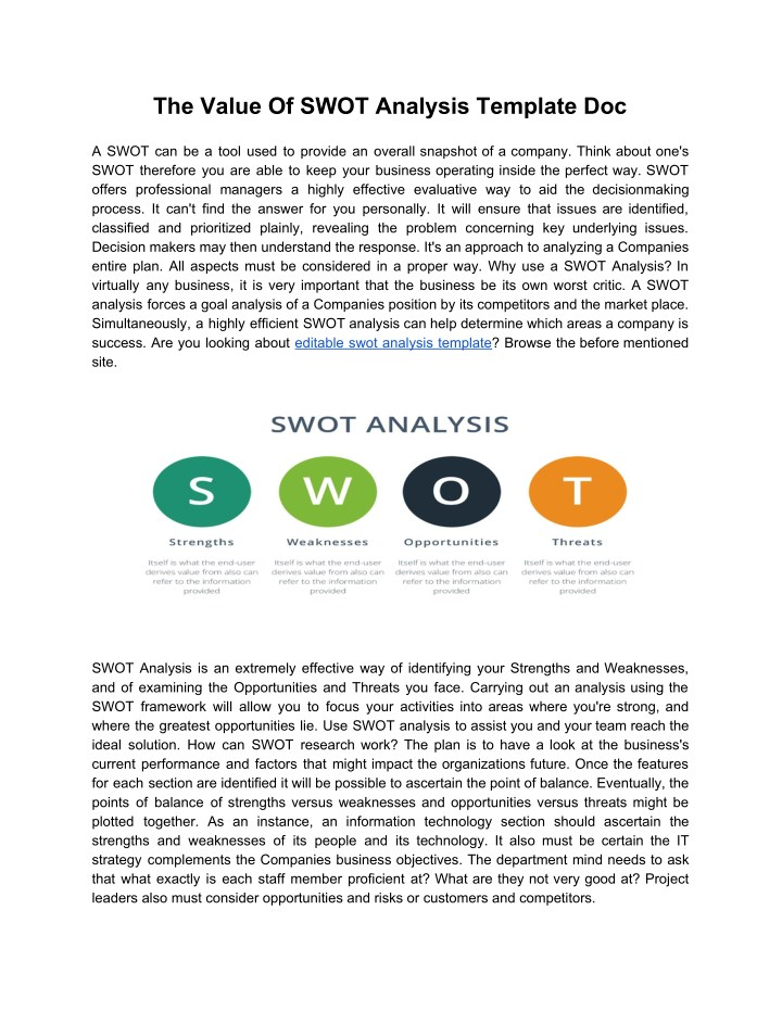 PPT - The Value Of SWOT Analysis Template Doc PowerPoint ...