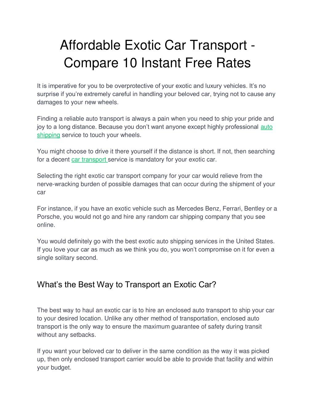 Car Transport Rates >> Ppt Affordable Exotic Car Transport Compare 10 Instant