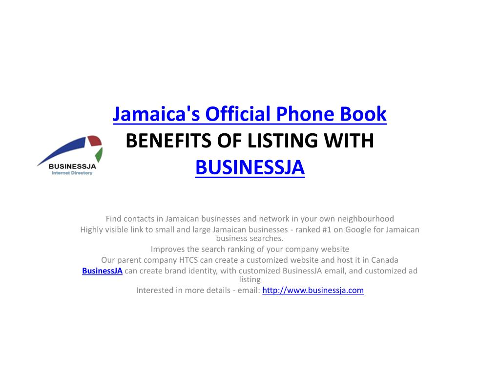 PPT - Jamaica's Official Phone Book PowerPoint Presentation