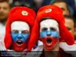 russia fans with face paint before the opening
