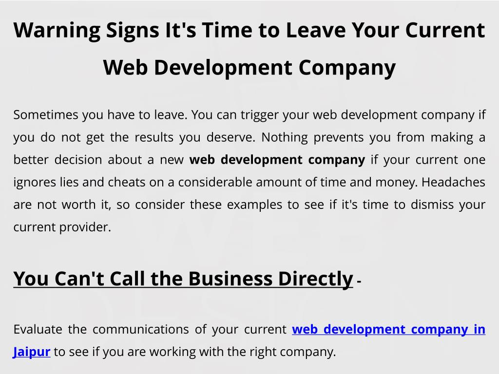 Ppt Warning Signs It S Time To Leave Your Current Web Development