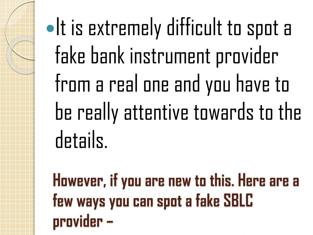 PPT - Few Ways With Which You Can Spot a Fake SBLC Provider