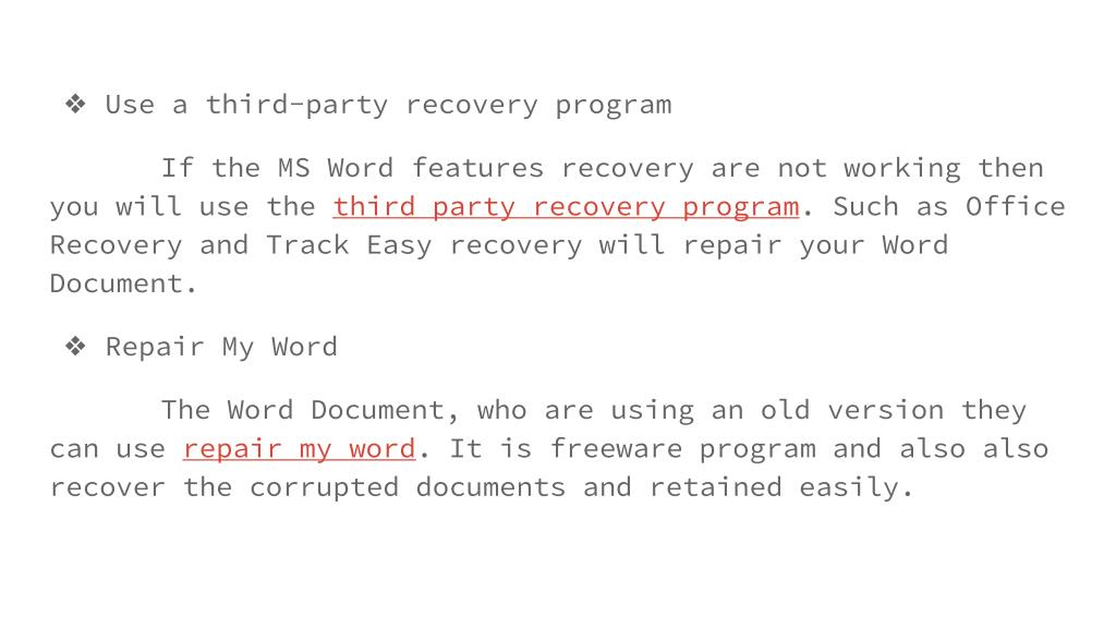 PPT - microsoft office word corrupted files recovery PowerPoint