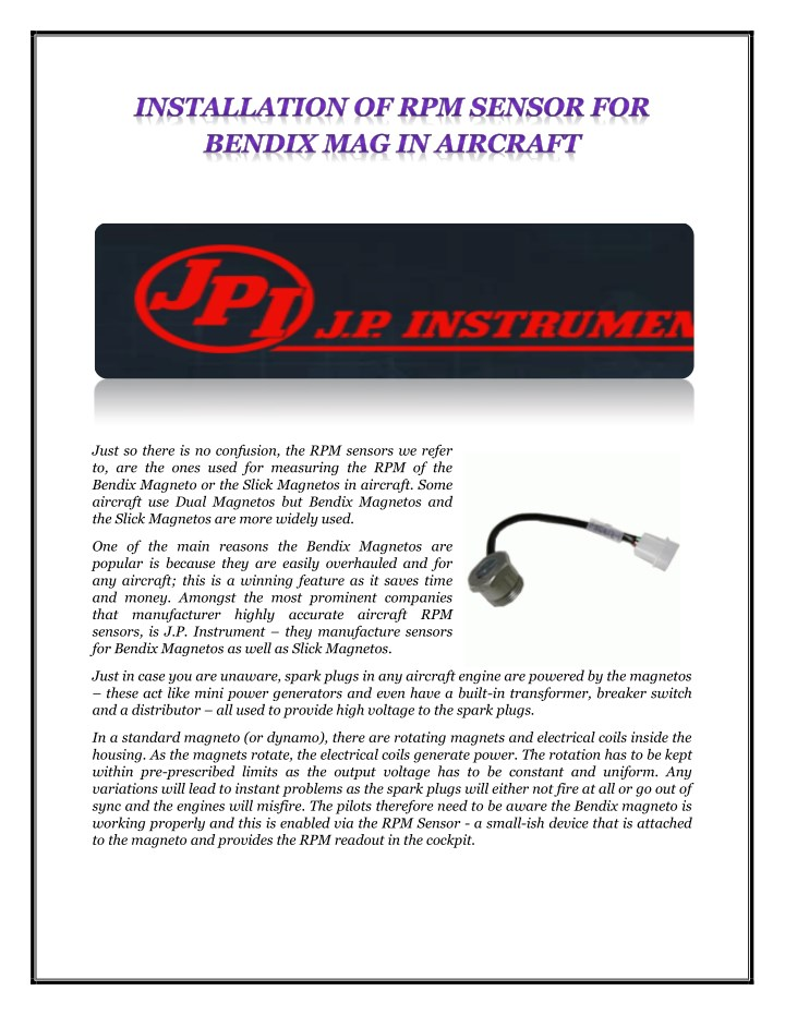 PPT - INSTALLATION OF RPM SENSOR FOR BENDIX MAG IN AIRCRAFT