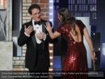 show host sara bareilles greets actor jamie