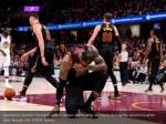 cleveland cavaliers forward lebron james reacts