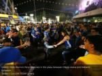 golden state warriors fans celebrate in the plaza