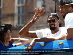 golden state warriors forward kevin durant waves
