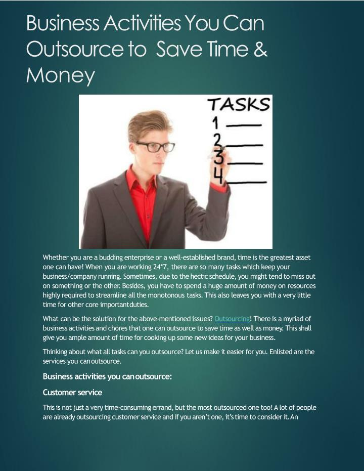 business activities you can outsource to save time money n.