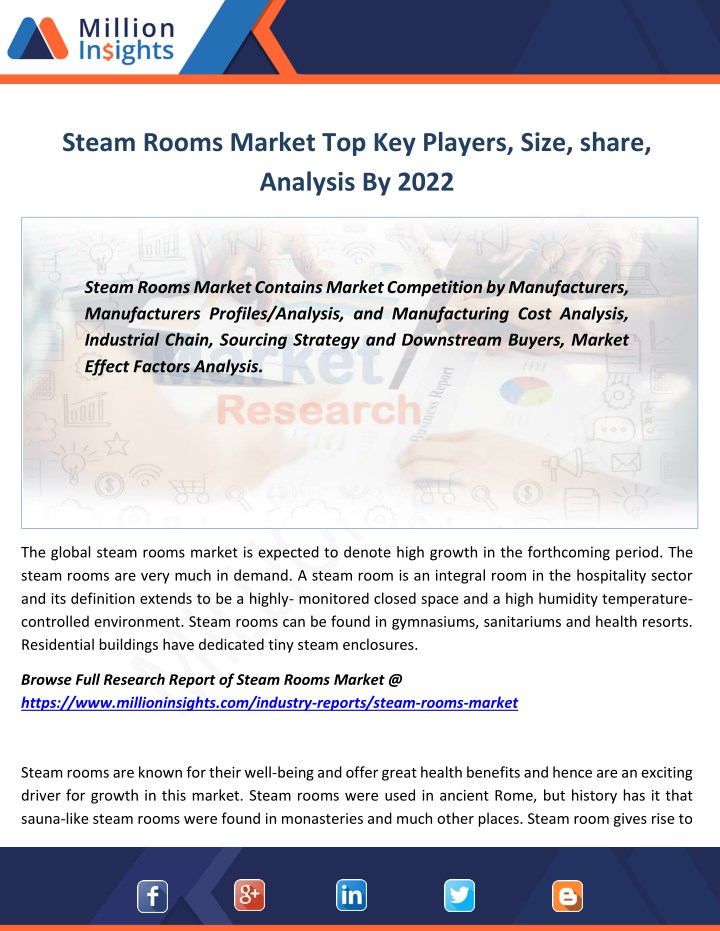 PPT - Steam Rooms Industry Consumption Growth Rate by