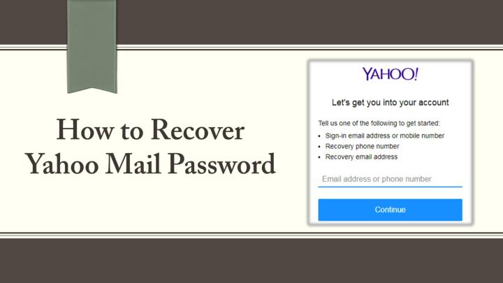 how to recover a forgotten yahoo email account