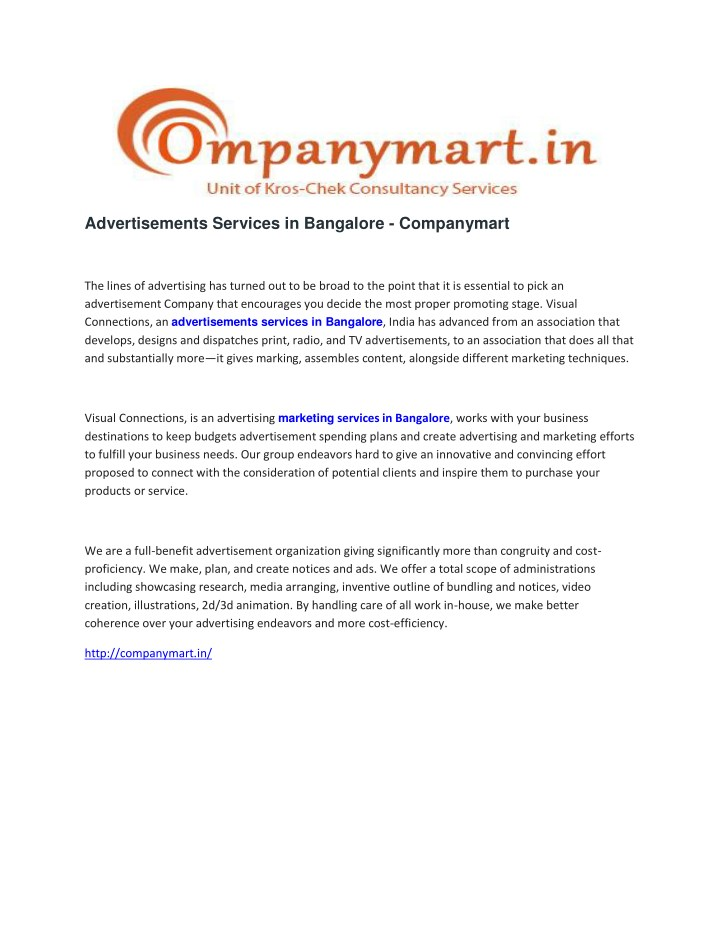 advertisements services in bangalore companymart n.