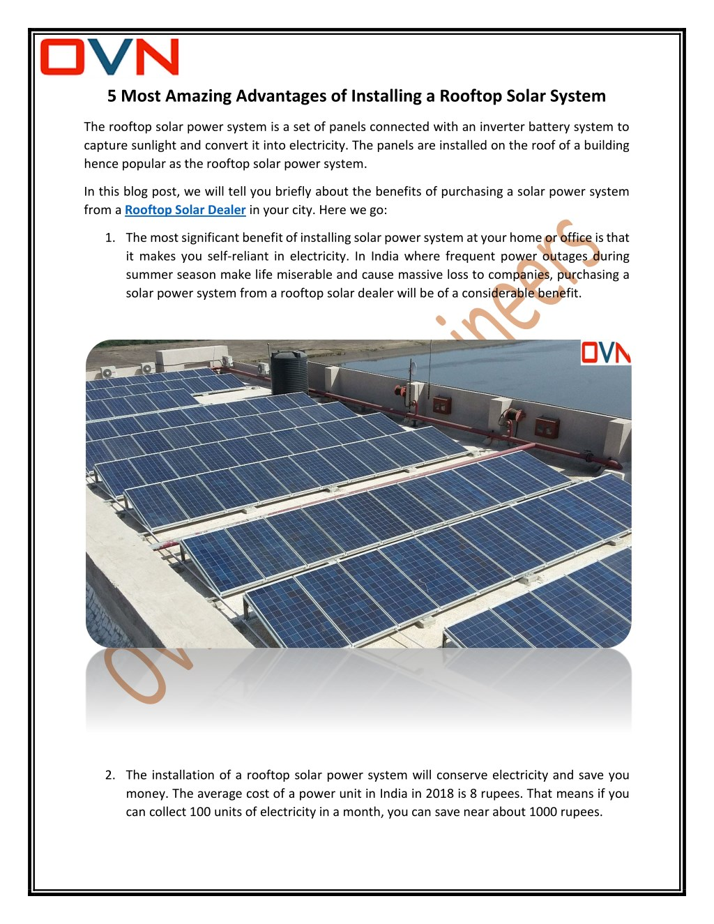 Ppt Rooftop Solar Dealer With Ovn Trading Point