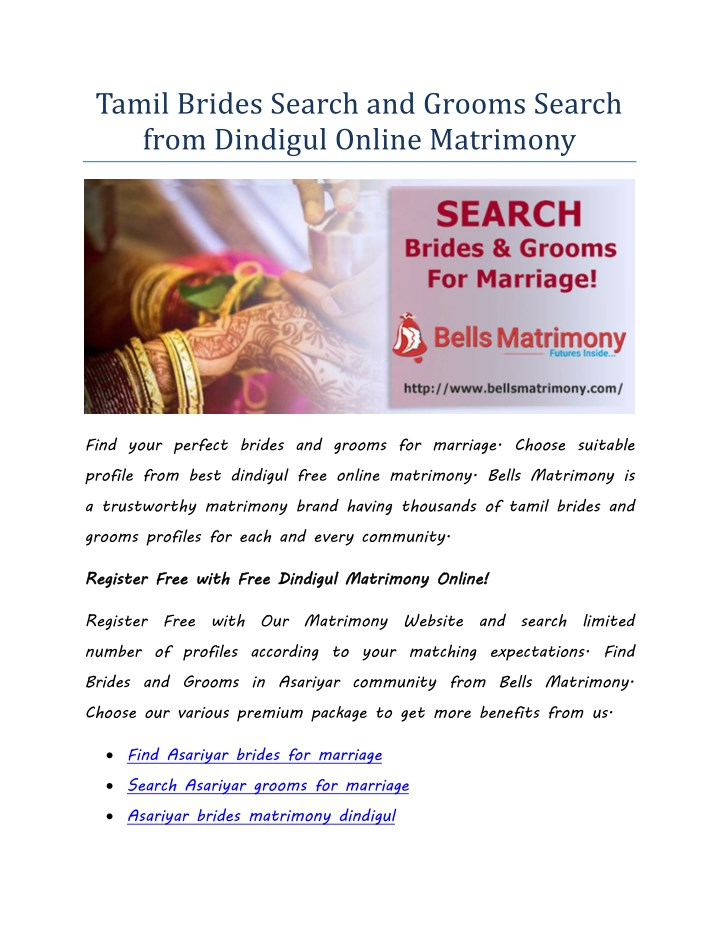 PPT - Tamil Brides Search and Grooms Search from Dindigul