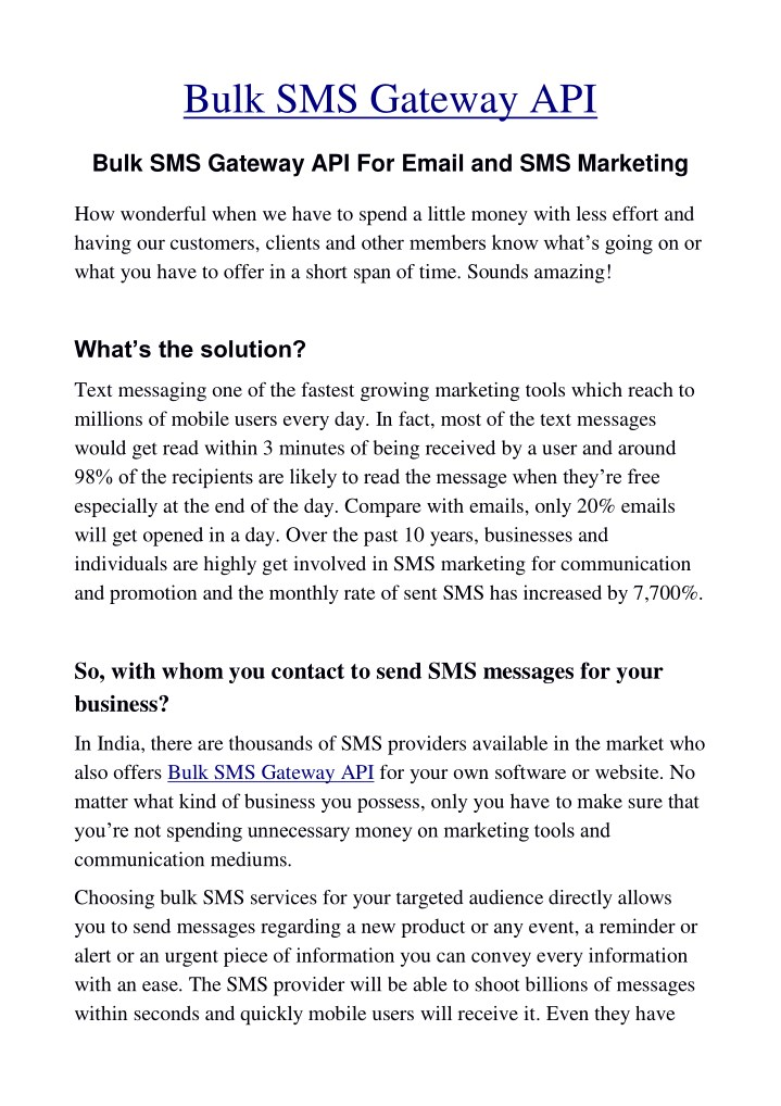 PPT - Bulk SMS Gateway API For Email and SMS Marketing
