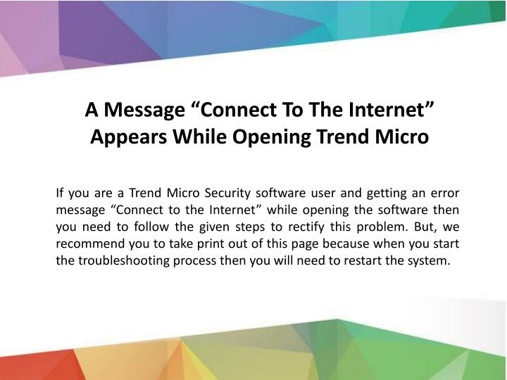 a message connect to the internet appears while n.