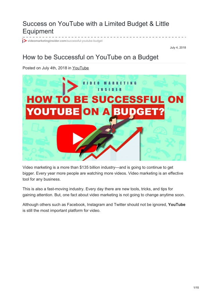 success on youtube with a limited budget little n.