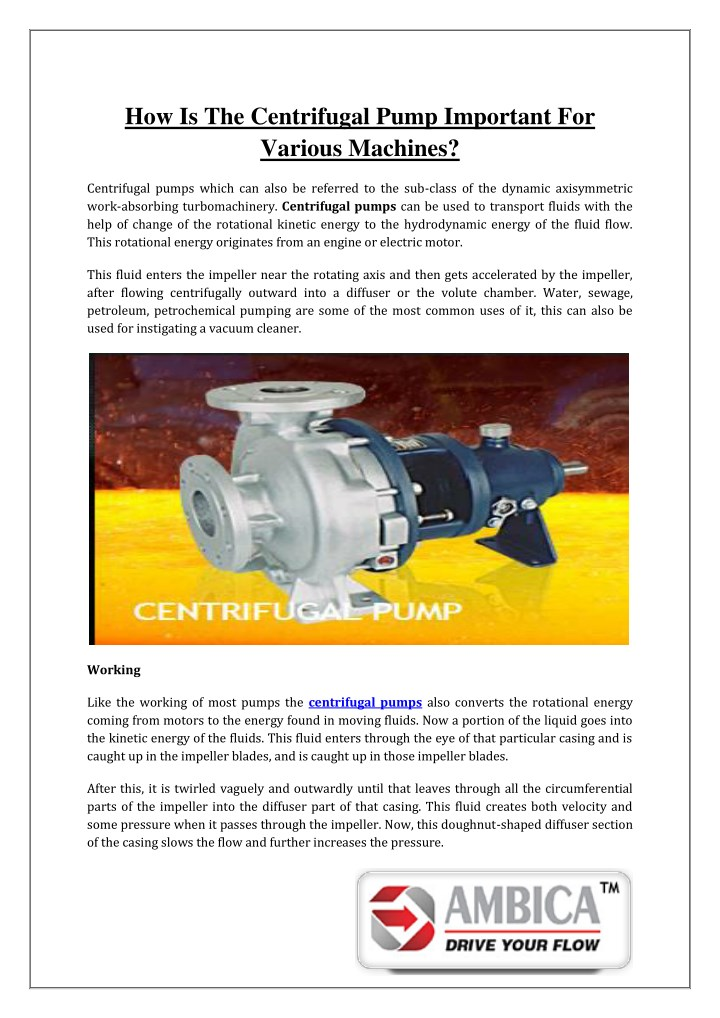 how is the centrifugal pump important for various n.
