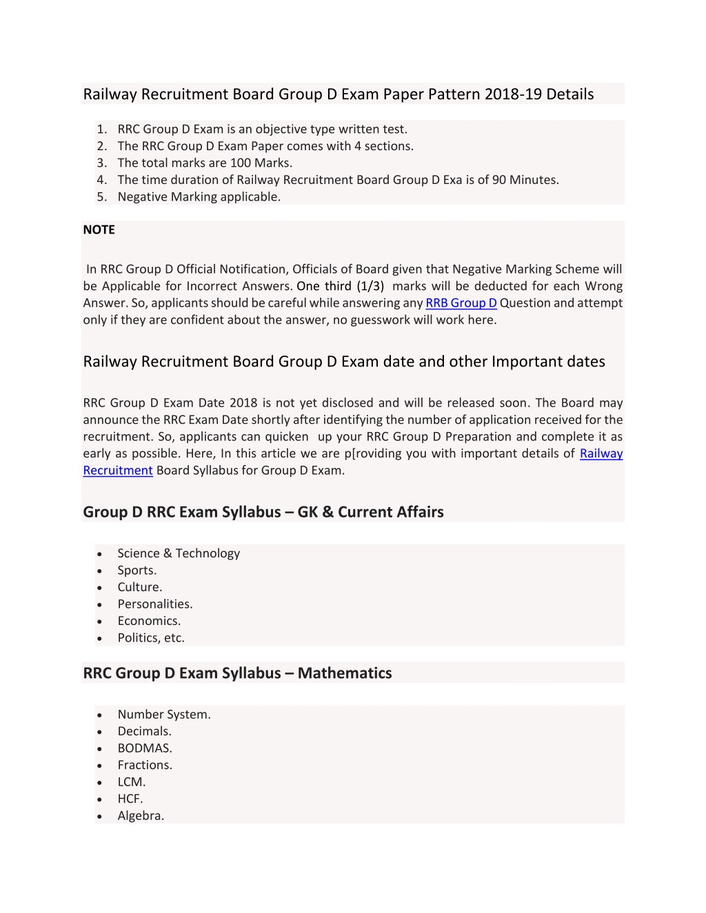 PPT - Railway Recruitment Board Group D Exam Paper Pattern