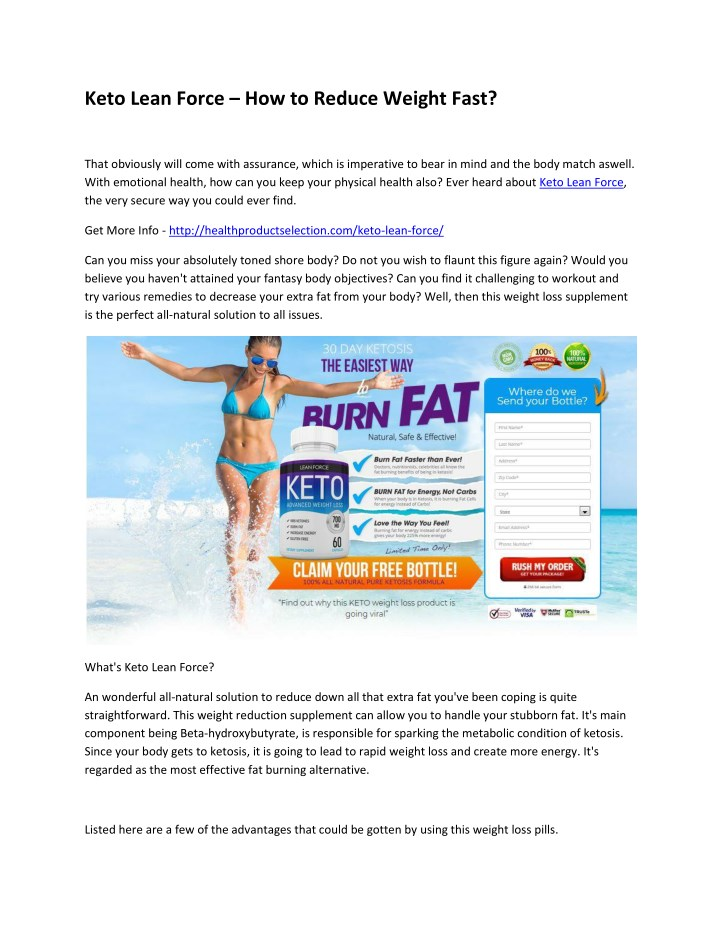 keto lean force how to reduce weight fast n.