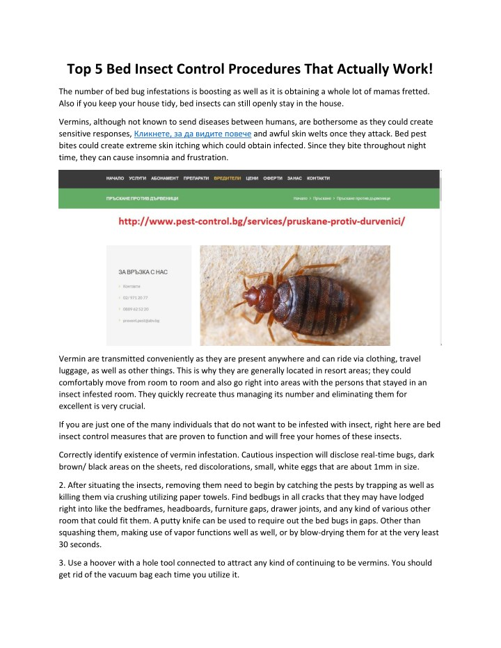 top 5 bed insect control procedures that actually n.