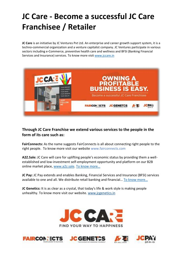 jc care become a successful jc care franchisee n.