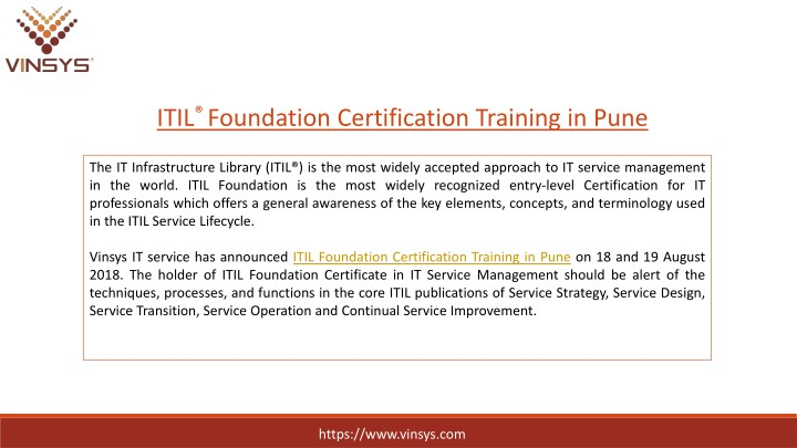 PPT - ITIL Foundation Certification Training Course in Pune | ITIL ...