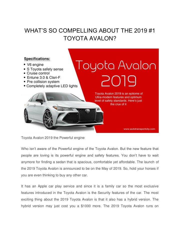 what s so compelling about the 2019 1 toyota n.