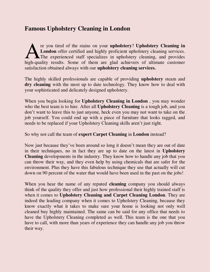 Famous Upholstery Cleaning In London