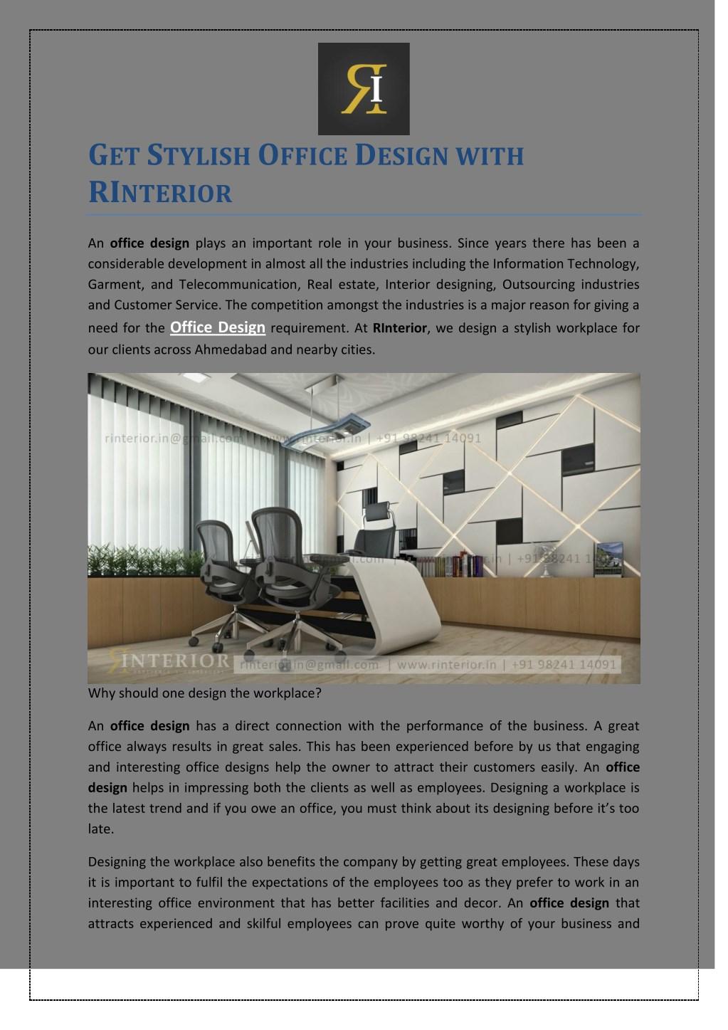 g et s tylish o ffice d esign with ri nterior n. & PPT - Get Stylish Office Design with RInterior PowerPoint ...