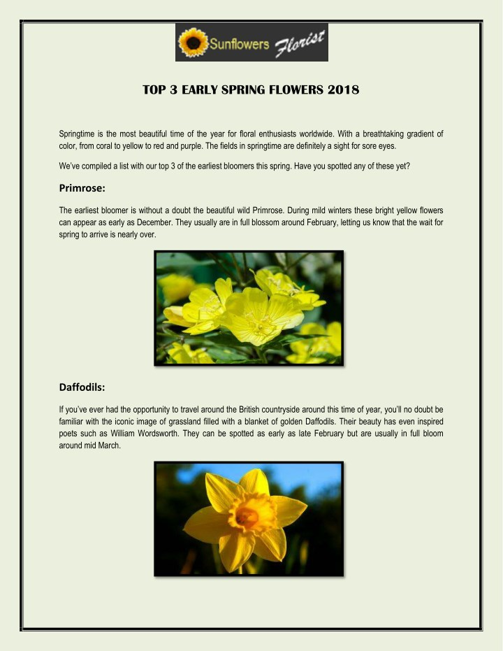Ppt top 3 early spring flowers 2018 powerpoint presentation id top 3 early spring flowers 2018 mightylinksfo