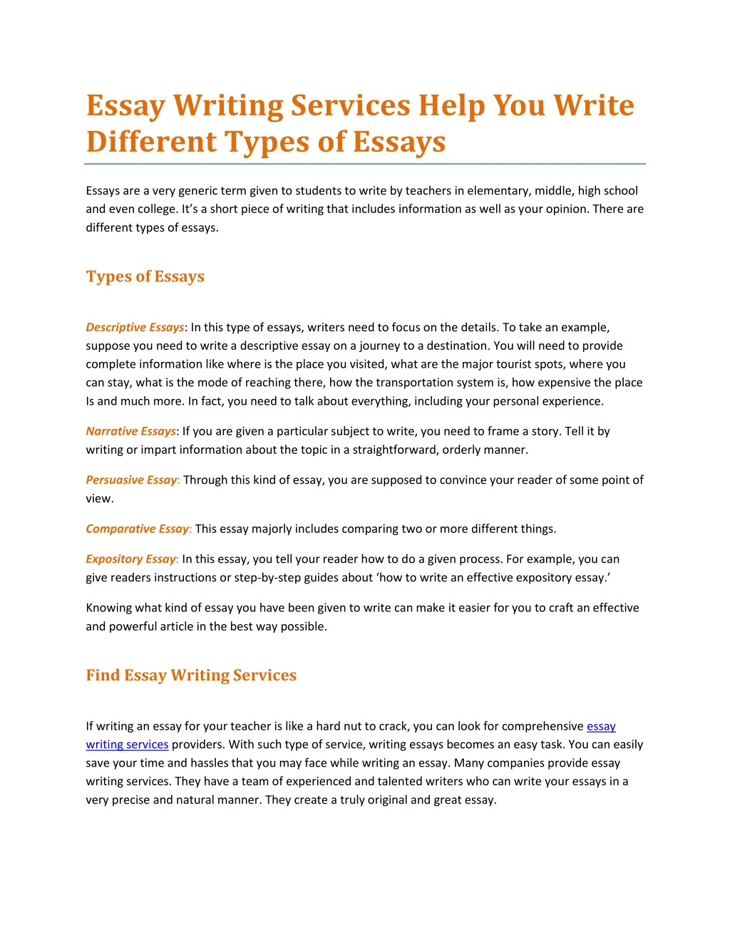 Narrative Essay Example For High School Essay Writing Services Help You Write Different N Science And Technology Essays also High School Entrance Essay Examples Ppt  Essay Writing Services Help You Write Different Types Of  English Essay Topics