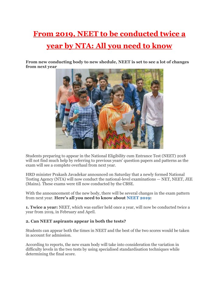 from 2019 neet to be conducted twice a n.