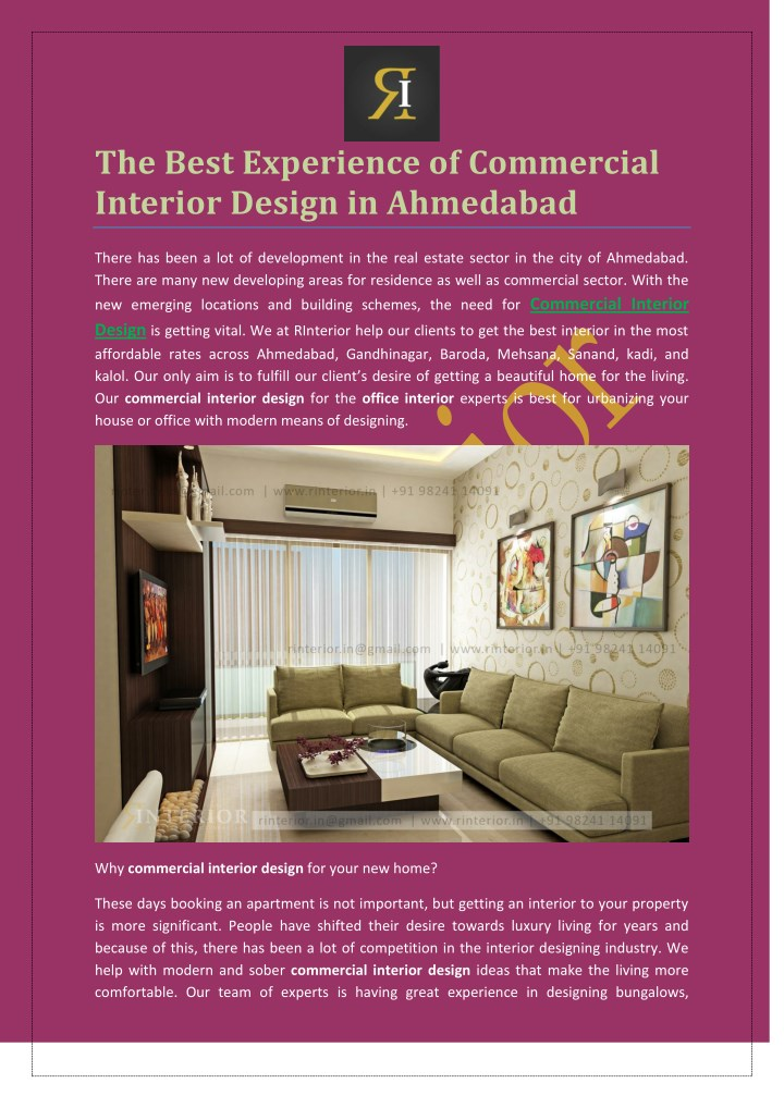 the best experience of commercial interior design n.