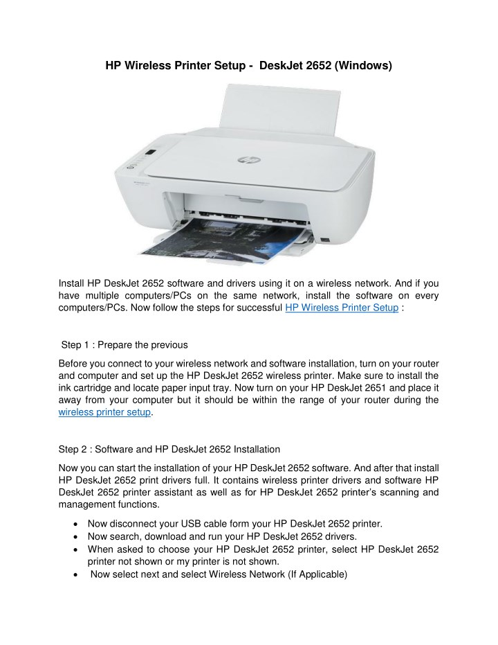 PPT - Easy Steps to Connect HP Deskjet 2652 Printer to WiFi